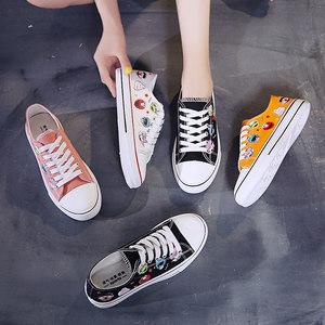 夏季球鞋可爱小白帆布女鞋2019黑色板鞋韩版单鞋百搭潮鞋学生<span class=H>布鞋</span>