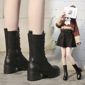 <span class=H>马丁靴</span>女2018冬季新款百搭粗跟中跟中筒短靴加绒保暖女鞋机车女靴