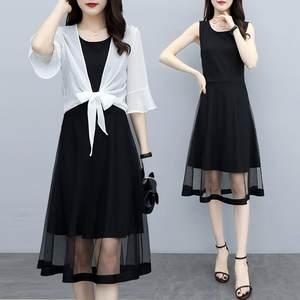 两件套雪纺时尚披肩+<span class=H>连衣裙</span>显瘦2019新款夏季套装遮肚大码女装