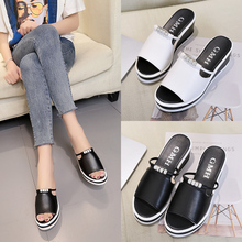 Water Drill Slope heel Slippers Women Summer 2019 Korean Version Baita Muffin One-word Slipper Waterproof Table Thick-soled Fishmouth Sandals