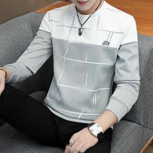 长袖t恤男士2019春季新款青年韩版潮流<span class=H>卫衣</span>男时尚套头宽松打底衫