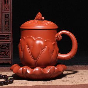 【玉颐阁】宜兴紫砂杯子礼品盒装功夫茶杯带盖荷叶三件套茶杯
