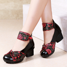 Spring 2009 Fashion Ethnic Style Retro Real Leather Soft sole Rough-heeled Single Shoes Mid-heel Soft sole Handmade Women's Shoes Dancing Shoes