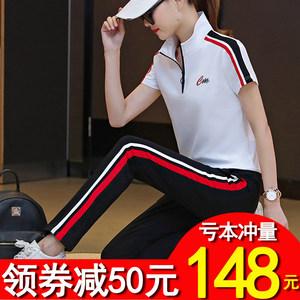 夏季女士短袖运动服卫衣休闲套装女夏天春秋2019新款潮宽松两件套