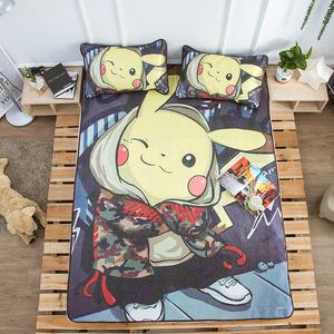 皮卡丘软<span class=H>凉席</span>1.8米床床垫款卡通三件套可水洗夏季冰凉空调软席子