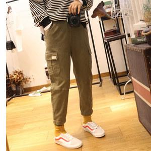 2019春装新款 韩版棉布工装裤女宽松休闲哈伦裤潮女<span class=H>裤子</span>