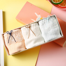 Three gift-box Japanese small, fresh, breathable, pure-color, medium-waist and low-waist women's underwear, pure cotton lace-edged underwear