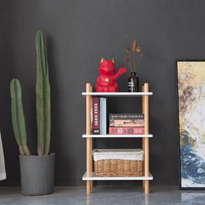 北欧实木落地置物架小户型简易白色多层储物架子厨房卧室收纳书架