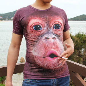 抖音同款<span class=H>t恤</span>男短袖3d搞怪图案体恤猴子搞笑大猩猩半袖<span class=H>t恤</span>大码衣服