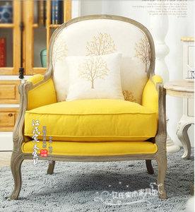 美式新古典实木<span class=H>沙发椅</span>单人 欧式休闲椅 法式黄色布艺软包躺椅定制