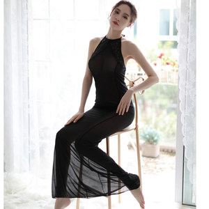 情趣内衣紧身包臀黑色透明大码薄纱制服套装女旗袍女仆装古典长裙