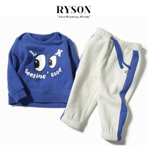 Ins款RYSON婴儿童装秋冬男女宝蓝纯棉LOOK眼睛抓绒加厚卫衣裤套装