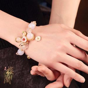 中国风复古风粉水晶<span class=H>手链</span>招桃花琉璃玛瑙手串个性民族风手饰品女