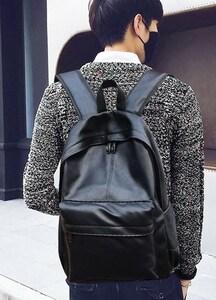 。休闲时尚潮流双肩包男士电脑背包韩版中学生书包女PU皮质旅行潮