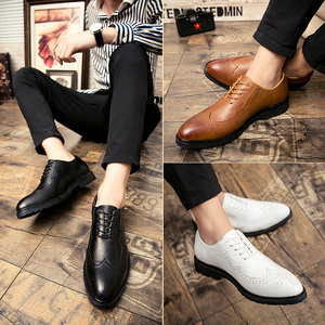 男生皮鞋韩版男士白皮鞋影楼婚纱拍照婚鞋白色<span class=H>男鞋</span>英伦布洛克<span class=H>鞋子</span>