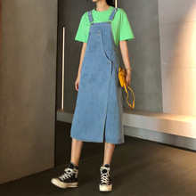 Girls with 100-band jeans strap skirt New Korean version design irregular loose strap dress in summer of 2019