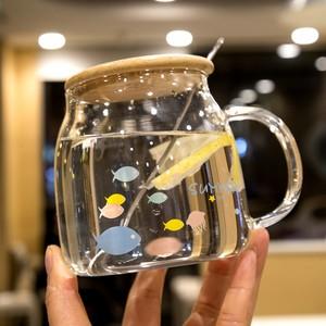 办公杯带盖带勺玻璃杯男女士学生泡茶办公<span class=H>水杯</span>带盖燕麦碗带<span class=H>手把</span>
