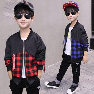 男童<span class=H>夹克</span>春秋季新款休闲拼接格子外套中大男童长袖上衣