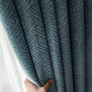 定制加厚雪尼尔窗帘成品卧室客厅北欧简约遮光布料落地窗飘窗遮阳