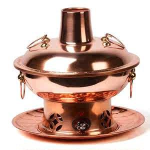 【】加厚紫铜电碳两用纯铜火锅涮肉木炭暖铜锅鸳鸯插电铜火锅