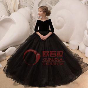 女童长袖黑色丝绒拖尾<span class=H>公主裙</span>儿童大提琴模特走秀钢琴表演出晚礼服