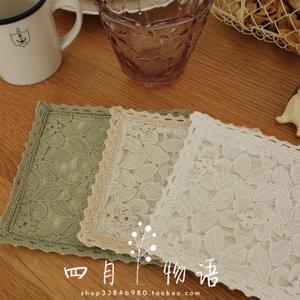 小梅花 蕾丝棉麻日式乡村ZAKKA质朴咖啡馆餐厅方形隔热<span class=H>杯垫</span>碗垫