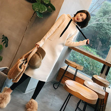 Fall and Winter 2019 New Knitted Dresses with Knee Temperament Medium-length Pullover Skirt and Thicker Bottom Blouse Women's Dresses