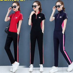 夏天运动套装女纯棉时尚立领广场舞<span class=H>服装</span>显瘦短袖长裤休闲两件套潮