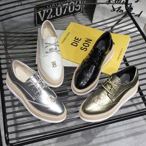 2019韩版春季新款方头系带厚底松糕坡跟布洛克<span class=H>休闲鞋</span>单鞋女鞋潮