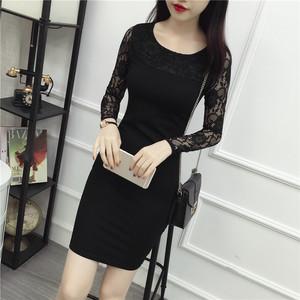 2017秋装新款性感黑色蕾丝包臀连衣裙女中长款拼接长袖修身打底裙