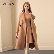Vian/Huilan Wool Coat Women Winter Garment 2019 New Korean Version Loose Medium-length Flip-collar Wool Coat Women