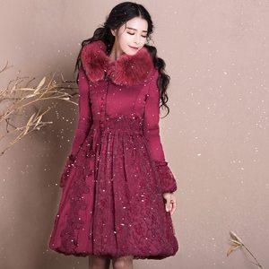 复古名媛棉服中长款女冬装小香风修身真毛领加厚保暖裙摆羽绒棉衣