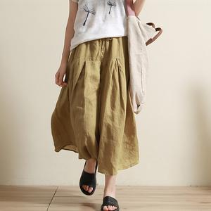 谷家 棉麻风格 超大用料 设计感新款<span class=H>女装</span>裤裙 休闲宽松亚麻阔腿裤