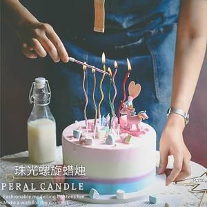 网红金属色珠光螺旋<span class=H>蜡烛</span>生日蛋糕装饰彩色创意<span class=H>蜡烛</span>儿童派对6只