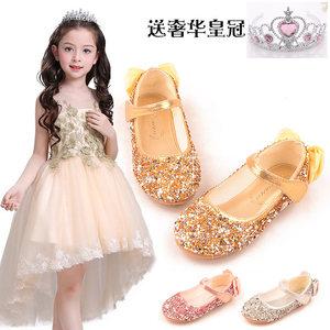 5儿童平底鞋3女童公主鞋四季单鞋4-6女宝宝金色舞蹈鞋8银色演出鞋
