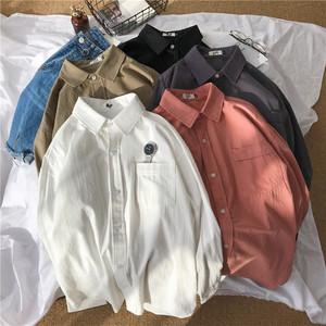 2018春季新款纯色长袖<span class=H>衬衫</span>男士日系潮流小清新宽松简约棉麻白衬衣