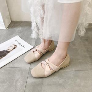 方头小单鞋女2019新款仙女chic韩版低跟绑带复古芭蕾晚晚风奶奶鞋