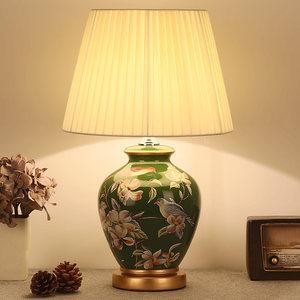 卧室<span class=H>床头灯</span>客厅欧式美式田园书房新中式古典绿色调光布艺陶瓷台灯