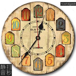 欧式做旧怀旧乡村田园复古客厅壁钟创意简约装饰超静音木质<span class=H>挂钟</span>表