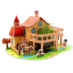 金樽3D立体拼图纸质种植物盆栽开心农场建筑模型儿童DIY益智手。