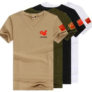 刺绣国旗特种兵T恤男紧身短袖军迷战术背心体能迷彩夏季军装<span class=H>服装</span>