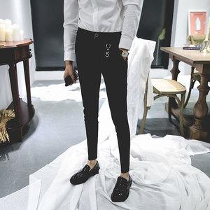 2018振轩<span class=H>男装</span>个性扣环配饰小脚休闲裤 修身潮流时尚百搭西裤男士K