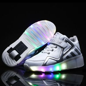 暴走鞋男童双轮儿童带滑轮带闪灯鞋单轮成人溜冰有轮子的<span class=H>运动鞋</span>子