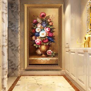 简约欧式古典花卉<span class=H>油画</span>花开富贵玄关走廊过道竖版有框装饰挂画牡丹