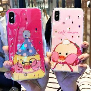Xsmax玻尿酸鸭iPhonex手机壳6s<span class=H>苹果</span>7plus可爱女款8x卡通水钻8p/xr