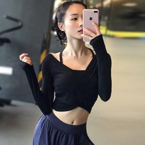 健身女孩性感露脐短款瑜伽<span class=H>上衣</span>弹力紧身显瘦跑步运动长袖速干t恤