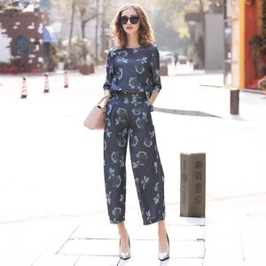 罗家RMOJUL 2019春装<span class=H>女装</span>新款 印花天丝牛仔可拆两件套阔腿连体裤