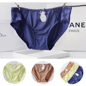 大牌低腰性感女生<span class=H>内裤</span>牛奶丝蕾丝面料纯色镂空女式三角裤纯棉底裆