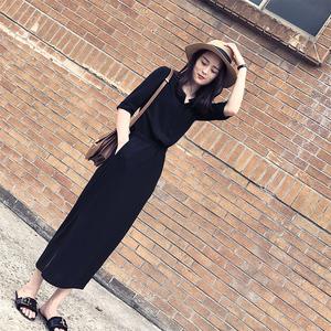 赫本长裙2018春装新款<span class=H>女装</span>韩版黑色开叉长裙气质收腰显瘦<span class=H>连衣裙</span>女