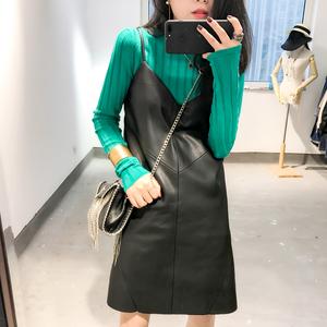 CICI 2017秋装新款女装 韩版性感柔软皮质吊带连衣裙 超有质感!